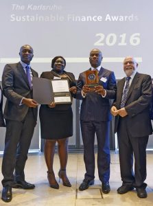 "L-R: Roosevelt Ogbonna, Executive Director, Commercial Banking Division, Access Bank Plc; Omobolanle Victor—Laniyan, Head, Sustainability, Access Bank Plc;  Herbert Wigwe, Group Managing Director, Access Bank Plc and Dr Frank Mentrup, Lord Mayor of Karlsruhe at the 2016 Karlsruhe Sustainable Finance Awards in Germany on Thursday Night where Access Bank won the ""Outstanding Business Sustainability Achievement"" Award."