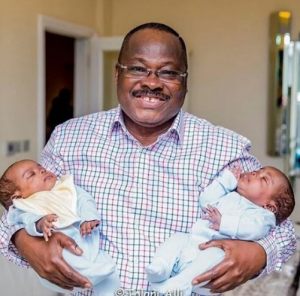 A smilling Governor Ajimobi with Jibola's set of twin