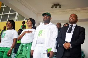 L-R: Executive Director, Heritage Bank,  Mary Akpobome; The Heritage Bank-Lagos State Skoolimpics Ambassador, Mary Onyali; Managing Director/CEO, Ifie Sekibo and The Director General, Lagos State Sports Commission, Dewunmi Ogunsanya representing the Lagos State Sports Commissioner, during the opening ceremony of Skoolimpics at the Teslim Balogun Stadium, in Lagos …yesterday