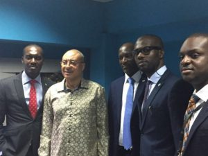 Adekunle Adewole, Cluster Head Apapa Region, Heritage Bank Plc; Prof Pat Utomi, Founder/CEO at Centre for Values in Leadership (CVL); Kehinde Olugbemi, Divisional Head, Corporate Banking Apapa Region; Jubril Adeojo, Head, Interventions Funds and other Support Scheme; Fijo Wisdom Team member Interventions Funds and other Support Scheme at the graduation ceremony of the Young Entrepreneurship Business Training Programme (YEBTP) in Lagos.